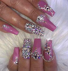 Uñas decoradas pretty nails nails, nail designs и rhinestone Bling Nails, Ongles Bling Bling, Glam Nails, Dope Nails, Rhinestone Nails, Fancy Nails, Bling Nail Art, Nail Art Rhinestones, Fabulous Nails