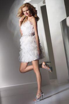 Strapless Mini White Organza A Line Homecoming Dress