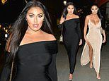 Love Islands Anna Vakili shows off her curves in a strapless black dress for NYE
