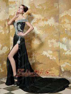 Black Empire One Shoulder Court Train Elastic Woven Satin Beading Prom / Celebrity Dress- $ 266.69  www.fashionos.com  prom dress on sale   free shipping all over the world   beaded floor length prom dress   online prom dress store   fitted and sexy dress   a dress of elegance for your prom   prom dress at discount   cheap prom dress around 150   inexpensive prom dress for your pageant  