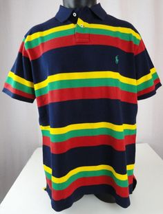NWT Polo Ralph Lauren XXL Shirt Mens Striped Mesh Custom Fit SS Red Blue Cotton #PoloRalphLauren #PoloRugby