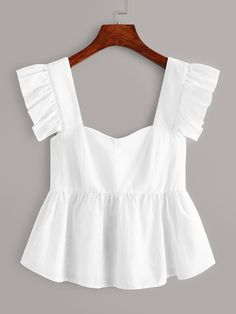 To find out about the Ruffle Trim Peplum Top at SHEIN, part of our latestWomen Tops ready to shop online New Arrivals Dropped Daily. Mode Top, Mode Vintage, Western Outfits, Ruffle Trim, Types Of Sleeves, Diy Clothes, Blouse Designs, Ideias Fashion, Cute Outfits