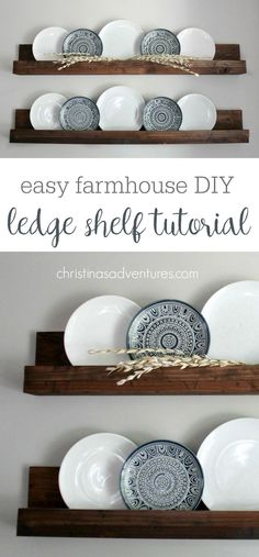 These Farmhouse Style Shelves Will Take About 30 Minutes &Amp Less Than 20 Such A Versatile Diy Project - Decor Can Be Easily Changed Out Every Season Home Decor Instagram, Ledge Shelf, Book Ledge, Woodworking Projects Diy, Diy Projects, Woodworking Tools, Woodworking Furniture, Diy Casa, Dining Room Walls
