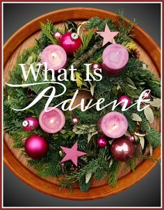 advent       11/27/2016 ... in the wreath there are four candles, three purple and one pink, each lit on a Sunday before Christmas. The purple candles, that are lit on weeks one, two and four, symbolize hope, peace and love. The pink candle, lit on week three, symbolizes joy. To prepare for the coming of Christmas we ponder on and pray for hope, peace, joy and love!   Some add a 5th candle to light on Christmas day.