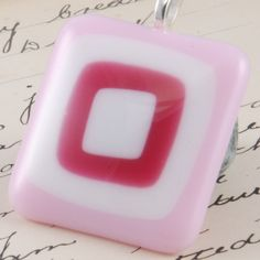 fused glass pendant  concentric squares  pink  by bluedaisyglass, £14.00