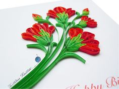 Red Carnations   This stunning DY birthday card uses paper quilled flowers to give it such sharp dimension.