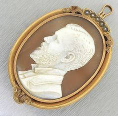 Antique Victorian 14k Yellow Gold Man Cameo Seed Pearl Brooch Pin Pendant   eBay