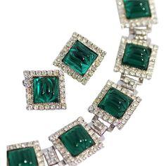 WILLIAM de LILLO Bracelet and Earrings, Open Back Emerald Art Stones and Swarovski Rhinestones