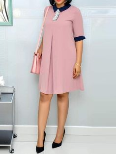 Half Sleeve A-Line Plain Women's Day Dress by laviye - 2019 Dresses, Skirt, Shirts & Short African Dresses, Latest African Fashion Dresses, African Print Fashion, Ladies Day Dresses, Office Dresses For Women, Classy Work Outfits, Classy Dress, Casual Dresses, Dress Outfits