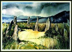 Ardgroom Outward stone circle, Co. Cork (watercolor by Tina Negus)