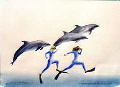 "OLYMPIC GAMES 2012, Aug 8th:Atletics Women's 200m Final pic: ""CABRIOLES AQUATIQUES"" - nautical caperings- watercolors by Pascal Lecocq, The Painter of Blue ®,8""x12""20,5 x 31cm, 2001, lec587a, priv.coll.©www.pascal-lecocq.com."