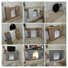 How to Make a Cardboard Christmas Fireplace Create a mock fireplace for Santa/ Odin to come down from cardboard Boxes. This cardboard fireplace can also serve as a charming focal point to h Simple Fireplace, Fake Fireplace, Fireplace Cover, Fireplace Hearth, Limestone Fireplace, Fireplace Outdoor, Fireplace Ideas, Fireplace Candles, Fireplace Seating