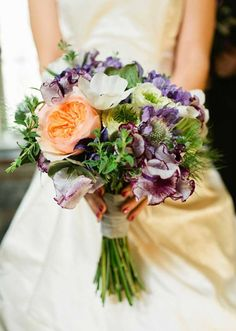 wedding bouquet- Soft Purple And Peach Bridal Bouquet -hand-tied bouquet style