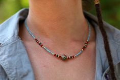 Minimal jewelry, beaded ethnic necklace, boho necklace for women, afghan beads , blue beaded adjustable elegant necklace Boho Necklace, Fashion Necklace, Trendy Necklaces, Minimal Jewelry, Hippie Style, Anniversary Gifts, Beaded Jewelry, Ethnic, Gems