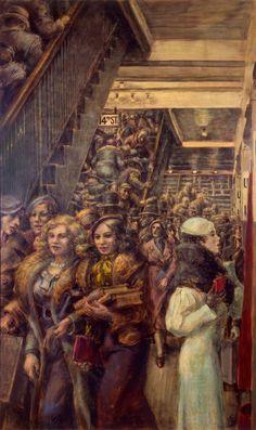 Reginald Marsh (1898–1954), BMT Fourteenth Street, 1932. Egg tempera, 60 × 36 in.