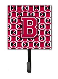 Letter B Football Crimson and White Leash or Key Holder CJ1079-BSH4
