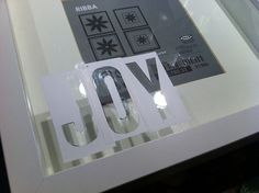glass etching on picture frames. this could be used SO many different ways! Ikea Christmas, All Things Christmas, Block Lettering, Vinyl Lettering, Etched Glassware, Ribba Frame, Ikea Frames, Ikea Hackers, Gift Wrapping Paper