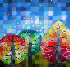 Backyard with Stars by Loretta Grayston - StellaViolet at etsy.com
