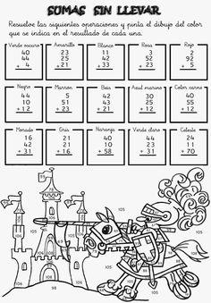 Actividades para niños preescolar, primaria e inicial. Fichas con sumas divertidas para imprimir para niños de primaria. Sumas Divertidas. 13