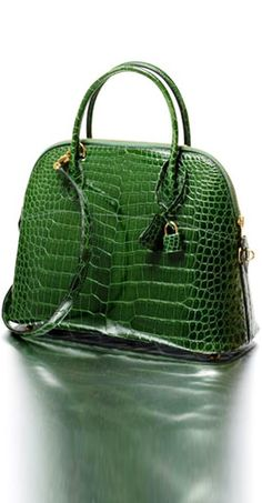 Green croc print handbag to accessories tan, white, orange yellow hues & of course green by Hermes