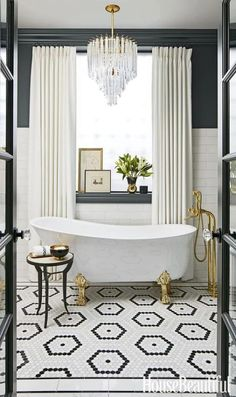 Glamorous Bathroom | Black White Title | Claw Tub | Chandelier