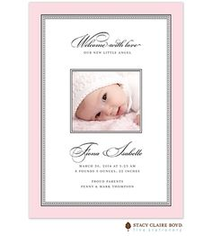 Softly Stated - Pink with Black Crisp and modern baby Girl Photo Birth Announcement | Little Angel Announcements