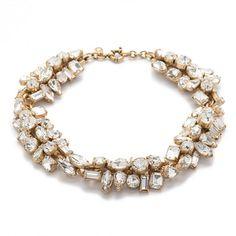 "A mix of shapes and sizes makes this shimmery necklace a total conversation starter. <ul><li>Length: 15"" with a 1"" extender chain for adjustable length.</li><li>Brass casting, glass, epoxy.</li><li>Light gold ox plating.</li><li>Import.</li></ul>"