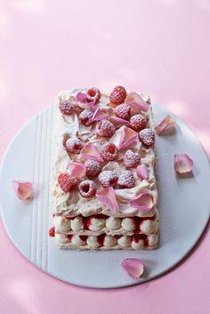 Raspberry meringue millefeuille