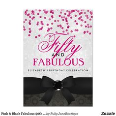 Pink & Black Fabulous 50th Birthday Party Invite