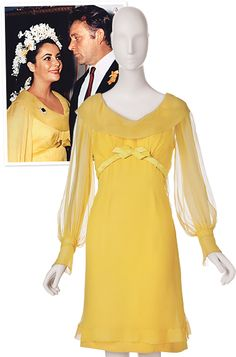 """Irene Sharaff, 1964  The bride says """"I do!"""" in yellow: Taylor donned this chiffon portrait-collar dress when she wed Richard Burton at the Ritz-Carlton in Montréal. Instead of a veil, she wore a crown of white hyacinths braided into her hair."""