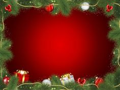 Decorative christmas frame with gifts Free Vector