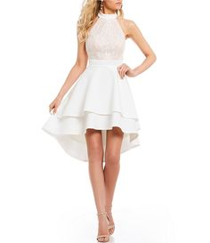 Jodi Kristopher High-Neck Lace Bodice Fit-And-Flare Dress Dillards Dresses Formal, Dillards Homecoming Dresses, Junior Formal Dresses, Formal Dresses For Teens, Mint Bridesmaid Dresses, Hoco Dresses, Little Dresses, Dance Dresses, Sexy Dresses