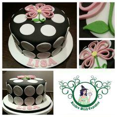 Happy birthday Lisa Polkadot themed cake with a quilled flower Witch Cake, Happy Birthday, Birthday Cake, Cake Business, Kitchen Witch, Themed Cakes, Catering, Cake Decorating, Lisa