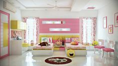 Pink lemonade is the first thing that comes to mind: playful, bright, summery, and light. This pink and yellow bedroom features all the essential cartoon characters every kid loves from Disney princesses to SpongeBob. Polished white floors promise easy cleanup after intense play sessions and creative craft projects.