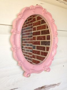 Pink shabby chic mirror  by RecycleDesign1971 on Etsy, $35.00