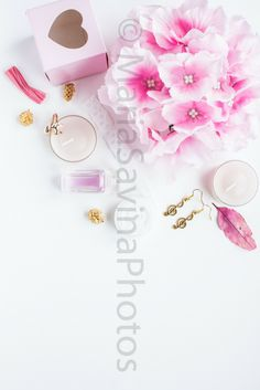 Styled Stock Photo | Flatlay Digital Styled Image | Product Photography | Light Pink Flowers and Accessories