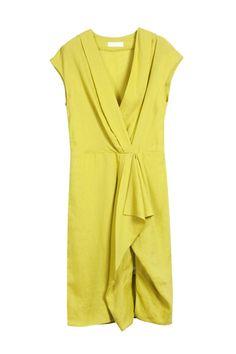 cap sleeve, drapey wrap, straight skirt