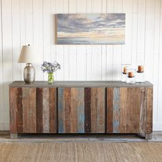 RECLAIMED BARN WOOD SIDEBOARD--Wood salvaged from Indonesian barns gives the doors on this sideboard a rich, colorful story. Three removable shelves offer ample storage space. Gray body is hand stained