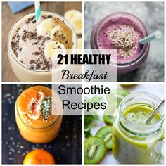 21 HEALTHY Breakfast Smoothie recipes for busy mornings! | www.kristineskitchenblog.com