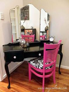 diy vanity with pink chair that i love! Just what I have been picturing! Maybe add some zebra stripe haha I want one just like it. Where did you find it? Diy Vanity, Closet Vanity, Mirror Vanity, Mirrors, My New Room, My Room, Painted Furniture, Diy Furniture, Do It Yourself Furniture