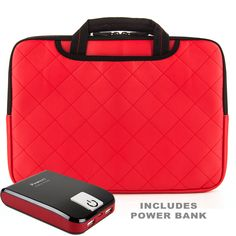 GUMMY Padded Sleeve Bag Case - Red For HP 10 - 10.1 inch Tablet Laptop Computers + Battery Power Bank. Protective sleeve with diamond stitching and premium durable PU leather good wear resistant and touch comfortable | Soft Microfiber cloth interior cleans your Tablet/Computer every time you slide it in or out. Ideal for travelling, school or business | Zippered enclosure, more secured than magnetic and velcro | Airport Check Point Friendly & TSA Compliant. Ultra-slim design | Water and...