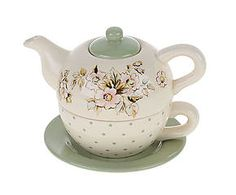 Set teiera e tazza in porcellana Green Flower - 2 pezzi