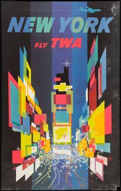 New York, TWA Travel Poster, 1960s; Design by David Klein