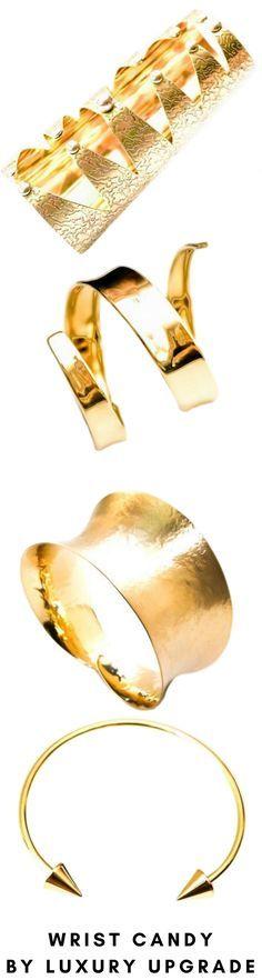 Artisan brass cuffs and bracelets, women's accessories, women's bangles, women's cuffs, women's fashion, OOTD, fall fashions, fashion week, gold, and brass jewelry.