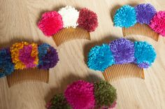 Pompom hair combs. Mexican inspiration.