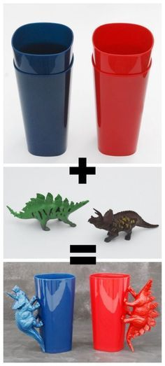 now how cute...dollar store bag of dinosaurs or what ever, dollar store cups...hot glue or epoxy...kids would love this!!