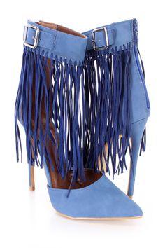 best service 62bb5 40dd7 Blue Fringe Ankle Strap Single Sole Heels Faux Leather. Morpheus Prime · Womens  Shoes