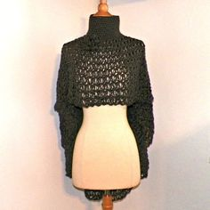 Poncho Cowl Turtle Neck Boho Cape Gray Shawl Long Capelet Crochet Dark Gray Knit Freeform Crochet Small to 2X Plus Size