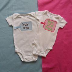 Twin Babies Onesie Girl and Boy
