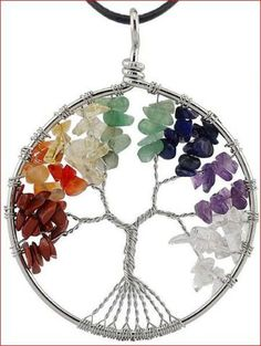 """Pendentif """"arbre de vie aux 7 chakras"""" avec pierres naturelles"""